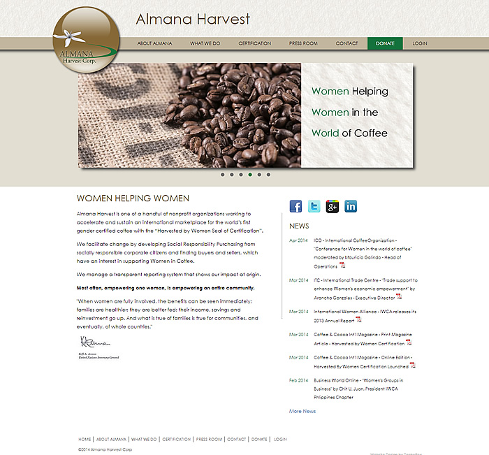 Almana Harvest website homepage