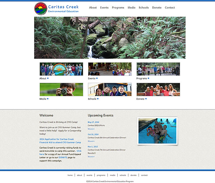 Caritas Creek website homepage