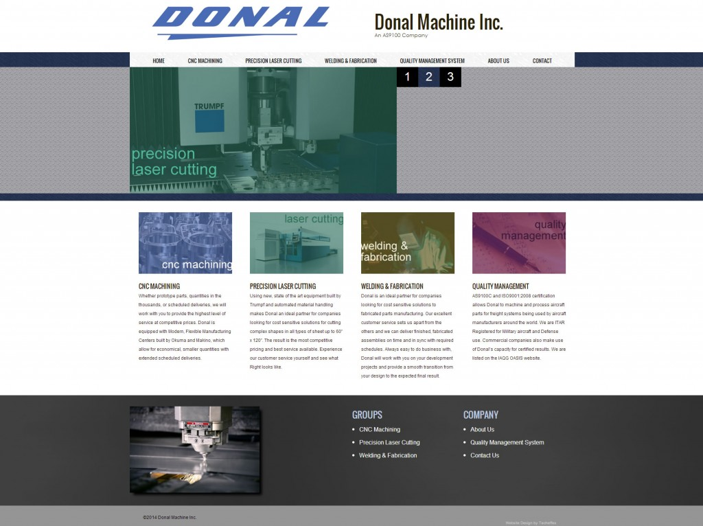 Donal Machine website homepage