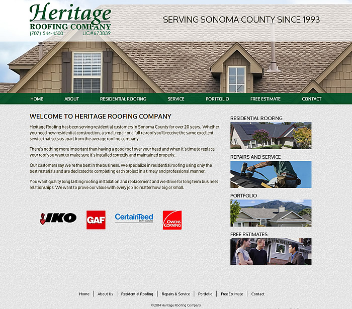 Heritage Roofing Website Homepage
