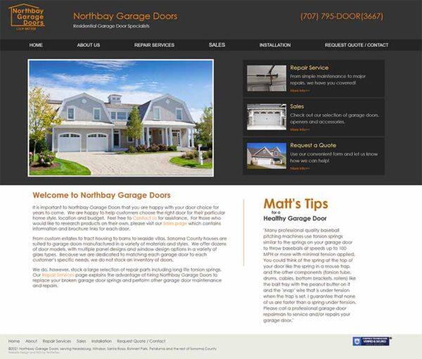 North Bay Garage Doors Home page