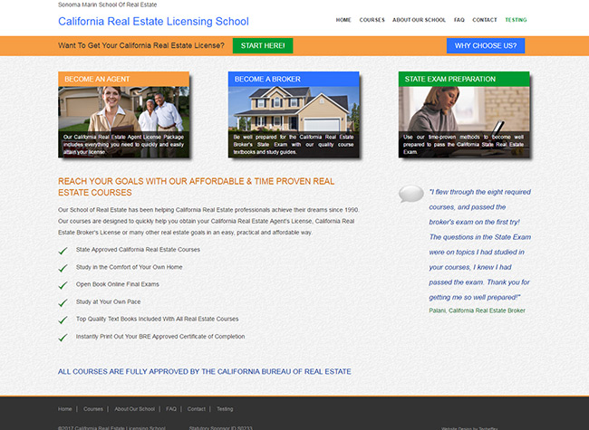 Web Design - California Real Estate Licensing