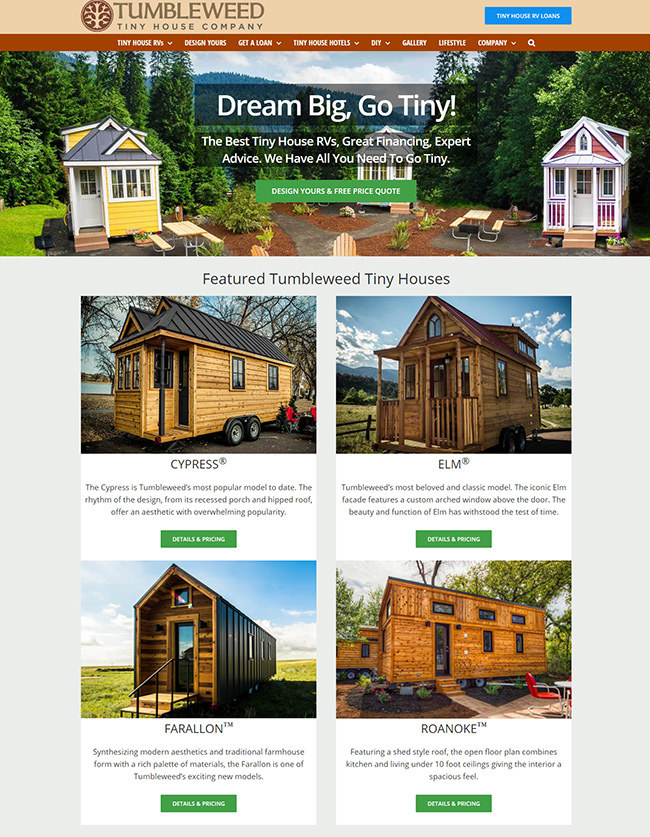 Web Design - Tumbleweed Tiny House